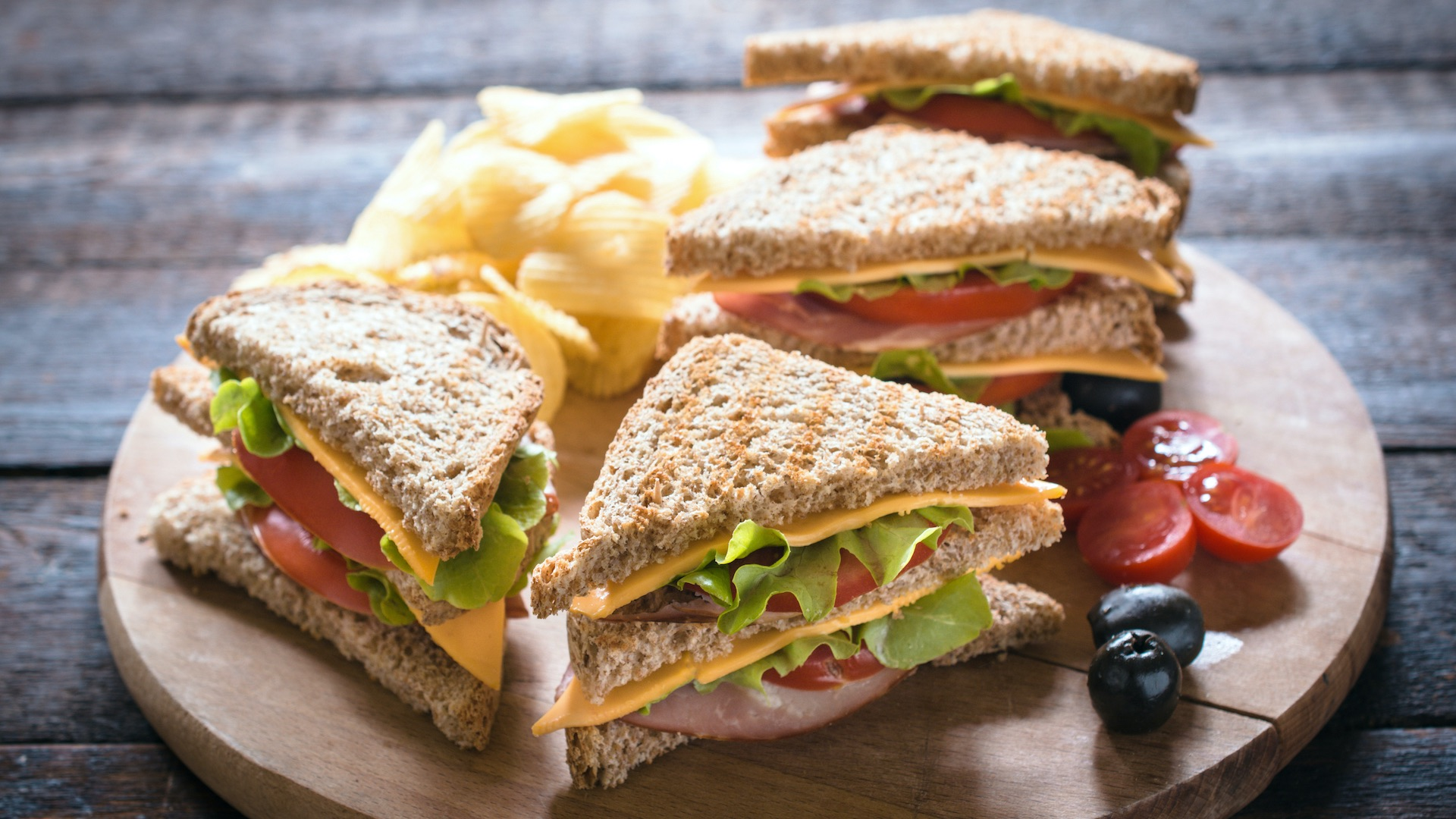 Sandwiches and fruit