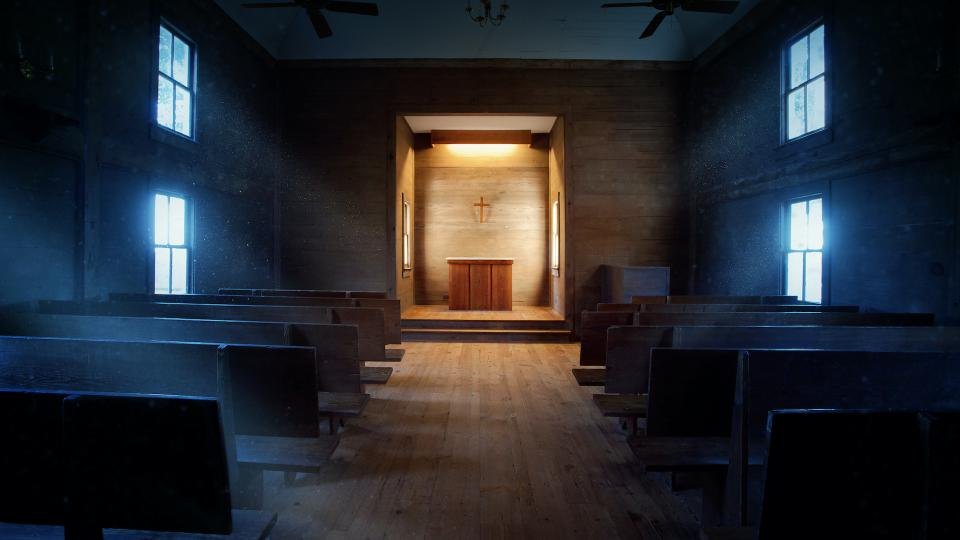 atmospheric picture of old church